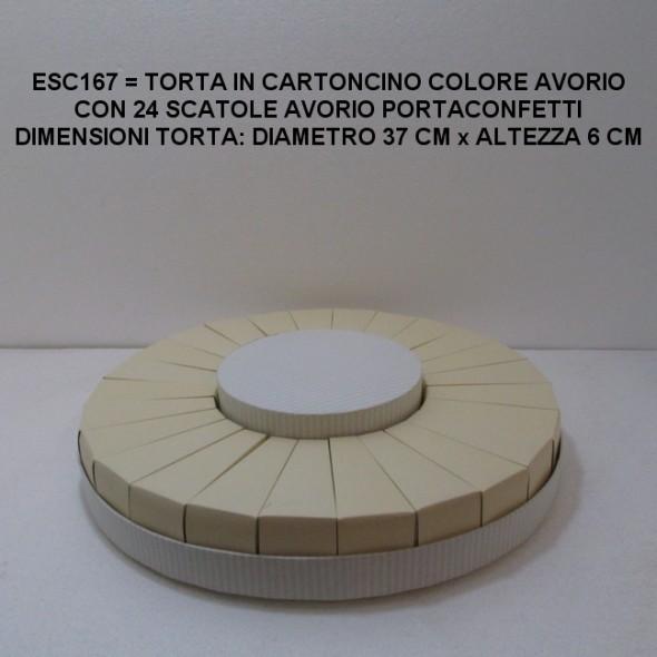 TORTA AVORIO GRANDE PER CONFETTI IN CARTONCINO FORMATA DA 24 SCATOLE