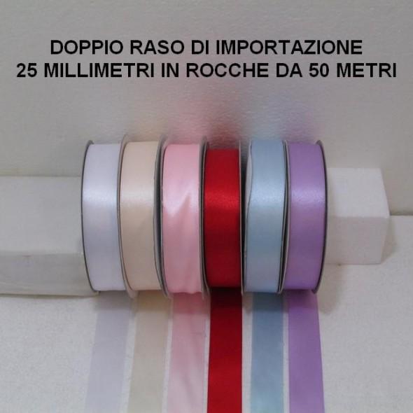 RASO ALTO 25 MILLIMETRI DI IMPORTAZIONE - 3 ROCCHE DA 50 METRI