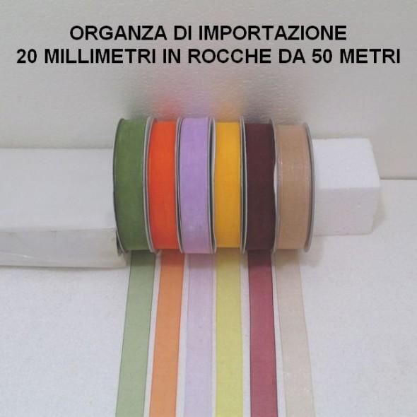 ORGANZA ALTA 20 MILLIMETRI DI IMPORTAZIONE - 3 ROCCHE DA 50 METRI