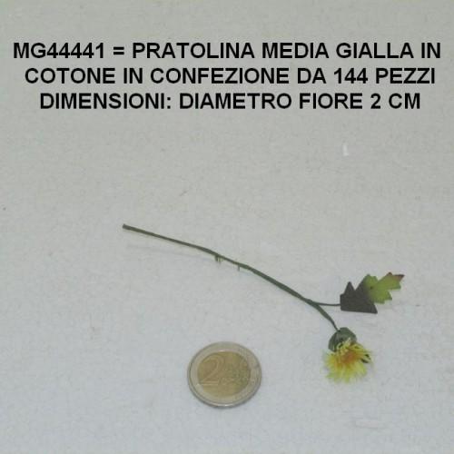 PRATOLINA MEDIA GIALLA IN COTONE CON FOGLIA