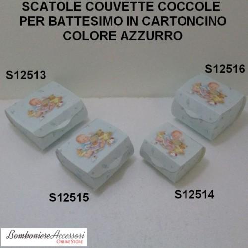 SCATOLE COUVETTE AZZURRE PER BATTESIMO MASCHIO - PEZZI 10