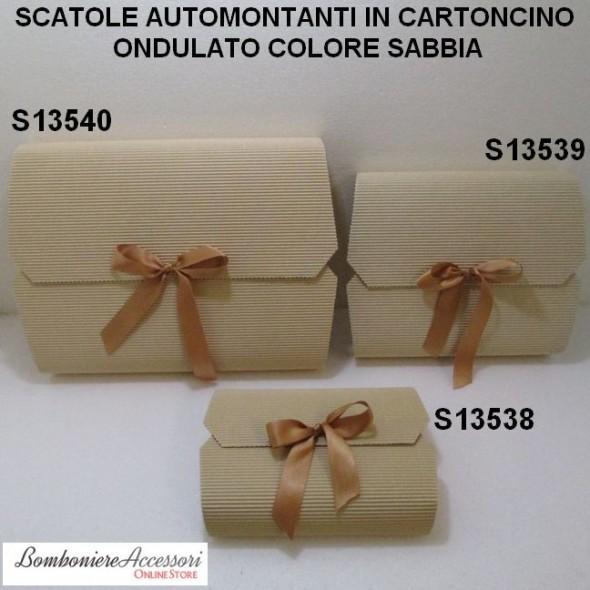 SCATOLE AUTOMONTANTI IN CARTONCINO ONDULATO COLORE SABBIA - PEZZI 10