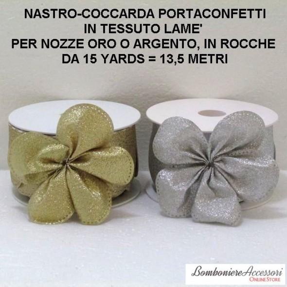 COCCARDA PORTACONFETTI PER NOZZE ARGENTO O NOZZE ORO - METRI 13,5
