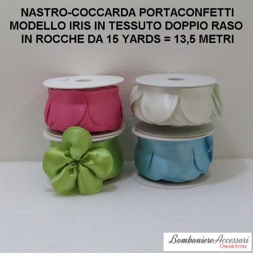 COCCARDA PORTACONFETTI MODELLO IRIS IN DOPPIO RASO - METRI 13,5