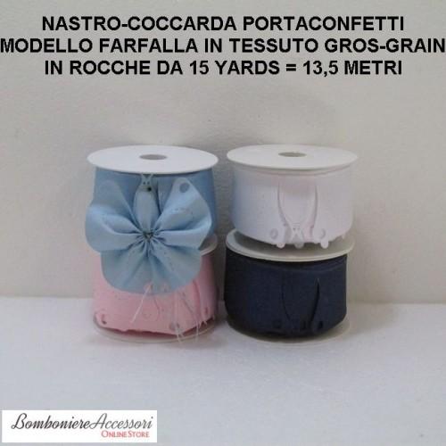COCCARDA PORTACONFETTI MODELLO FARFALLA IN GROS-GRAIN - METRI 13,5