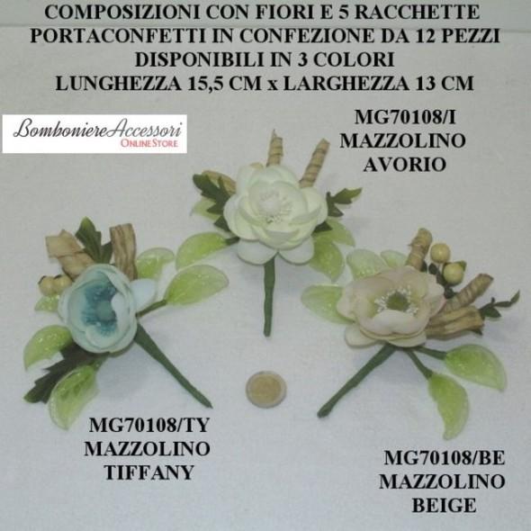 COMPOSIZIONI CON FIORI E 5 RACCHETTE PORTACONFETTI - PEZZI 12