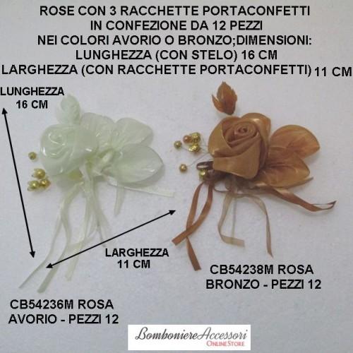 ROSE IN ORGANZA BRILLANTE CON RACCHETTE PER CONFETTI - PEZZI 12