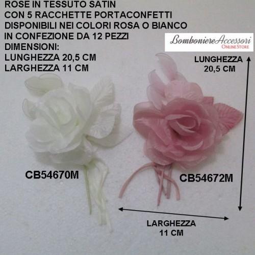 ROSE IN TESSUTO SATIN CON 5 RACCHETTE PER CONFETTI - PEZZI 12