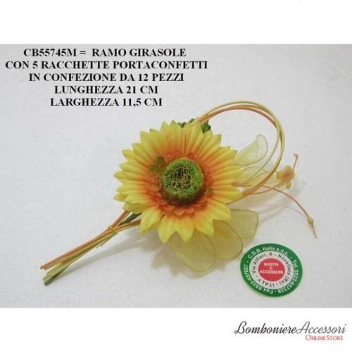 RAMO GIRASOLE CON 5 RACCHETTE PORTACONFETTI - PEZZI 12