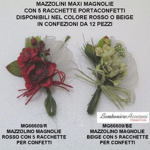 MAZZOLINI DI MAGNOLIE CON 5 RACCHETTE PER CONFETTI - PEZZI 12