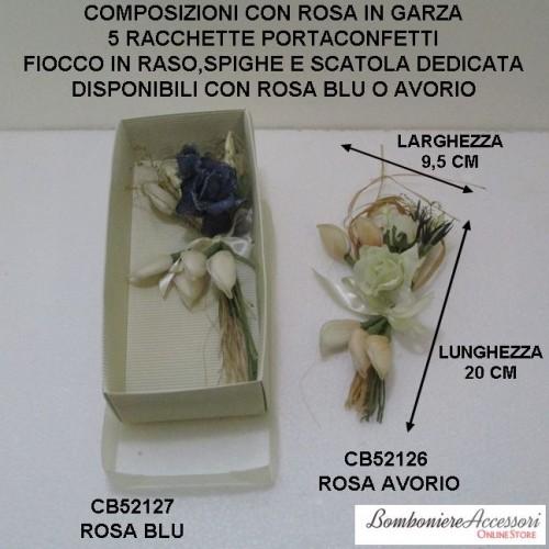 COMPOSIZIONI CON ROSA IN GARZA E 5 RACCHETTE PORTACONFETTI E SCATOLA - 1 PEZZO