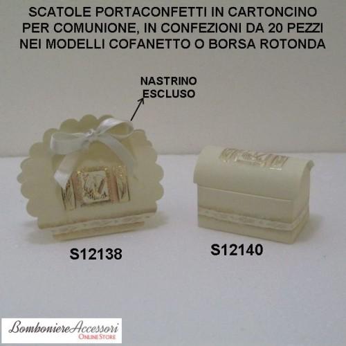 SCATOLINE PORTACONFETTI IN CARTONCINO PER COMUNIONE - PEZZI 20