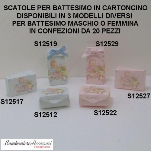 SCATOLE PER BATTESIMO COCCOLE IN CARTONCINO - PEZZI 20