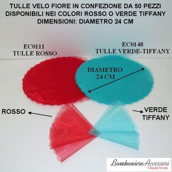 TULLE VELO TONDO FIORE - PEZZI 50