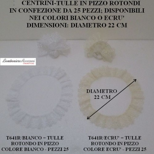 CENTRINI ROTONDI IN PIZZO - PEZZI 25