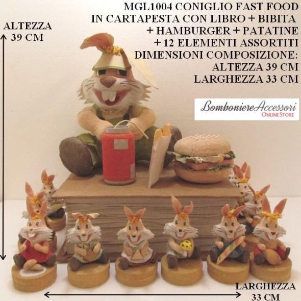 CONIGLIO IN CARTAPESTA VERSIONE FAST FOOD + 12 ELEMENTI ASSORTITI