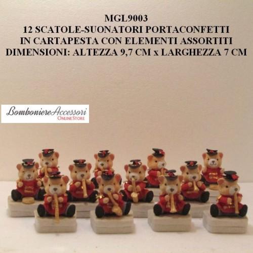 SCATOLE ORSETTI SUONATORI PORTACONFETTI IN CARTAPESTA - PEZZI 12