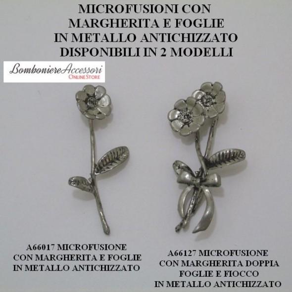 MICROFUSIONI CON MARGHERITE E FOGLIE IN METALLO