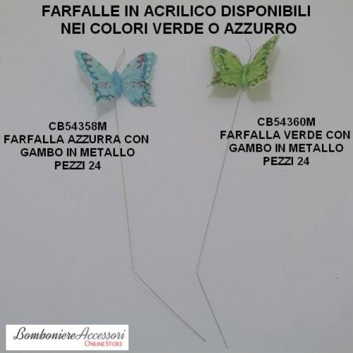 FARFALLE IN ACRILICO CON GAMBO IN FERRO