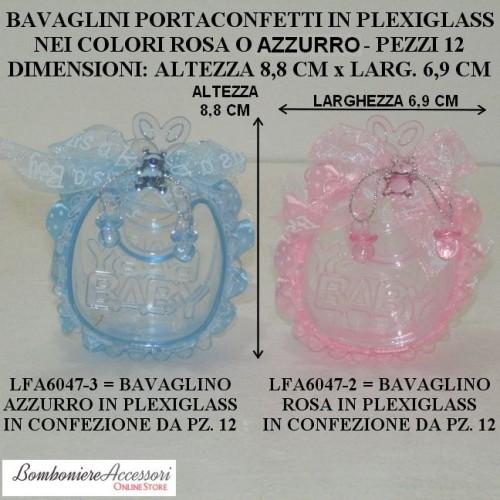 BAVAGLINI PORTACONFETTI PER BATTESIMO IN PLEXIGLASS - PEZZI 12