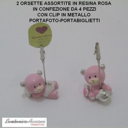 ORSETTI ROSA PER BATTESIMO CON CLIP