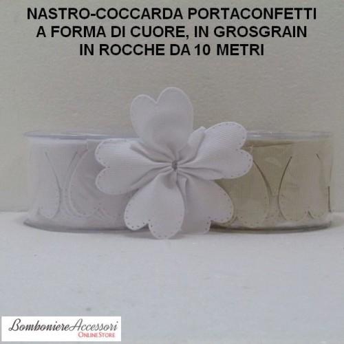COCCARDA PORTACONFETTI A CUORE IN GROSGRAIN - METRI 10