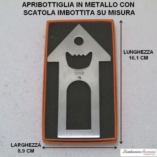 """APRIBOTTIGLIA TIPO """"CASETTA"""" IN METALLO CON SCATOLA"""
