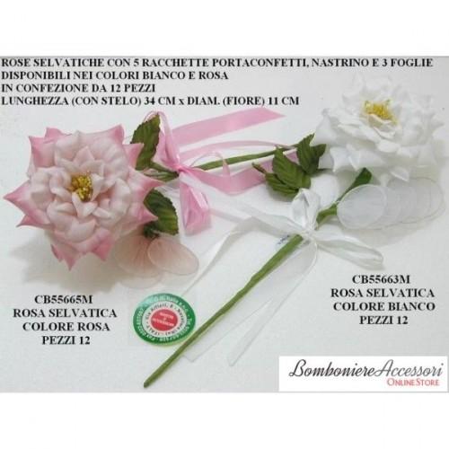 ROSA SELVATICA C/5 RACCHETTE PORTACONFETTI - PEZZI 12