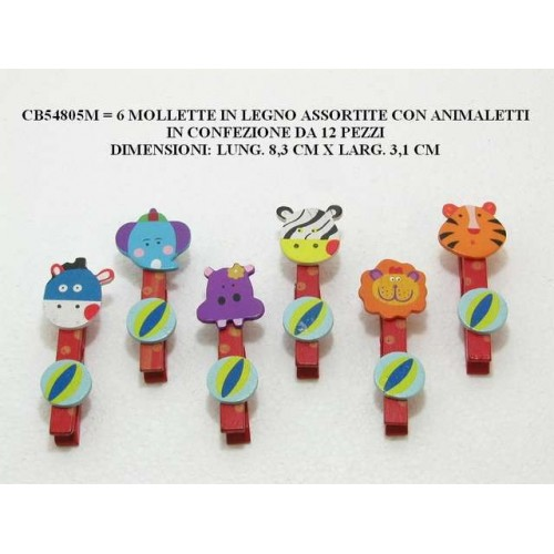6 MOLLETTE IN LEGNO ASSORTITE CON ANIMALETTI