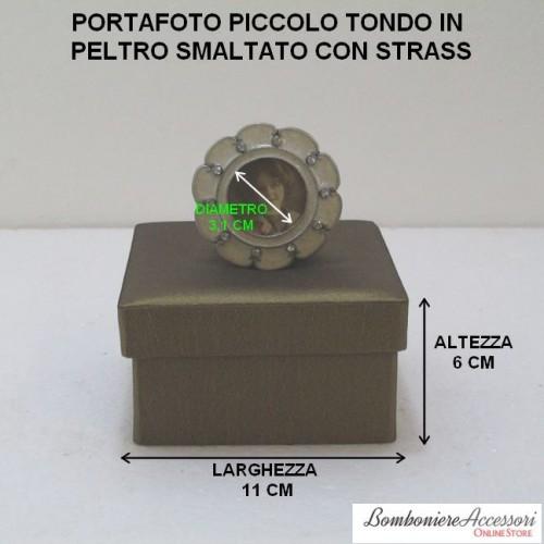 PORTAFOTO TONDO SMALTATO IN PELTRO CON STRASS