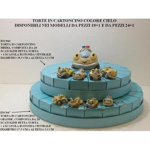 TORTE IN CARTONCINO COLORE CIELO FORMATA DA 18 OPPURE 24 SCATOLE PORTACONFETTI