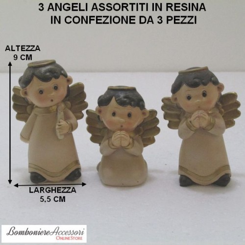 3 ANGELI ASSORTITI IN RESINA