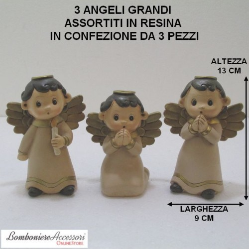 3 ANGELI GRANDI ASSORTITI IN RESINA