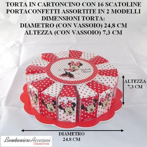 TORTA CON MINNIE DELLA WALT DISNEY FORMATA DA 16 SCATOLINE PORTACONFETTI
