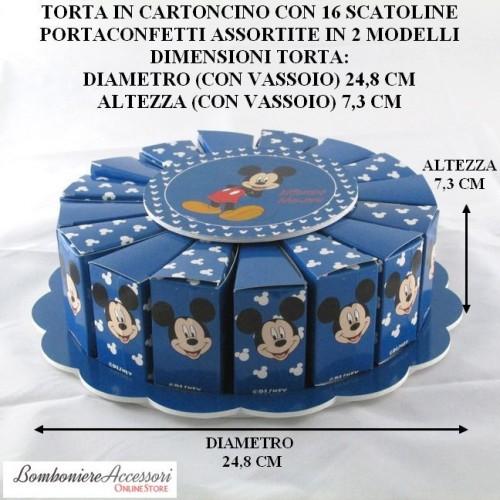 TORTA CON TOPOLINO DELLA WALT DISNEY FORMATA DA 16 SCATOLINE PORTACONFETTI
