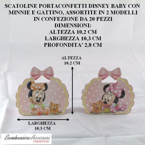 SCATOLINE PORTACONFETTI DISNEY BABY CON MINNIE E GATTINO - PEZZI 20