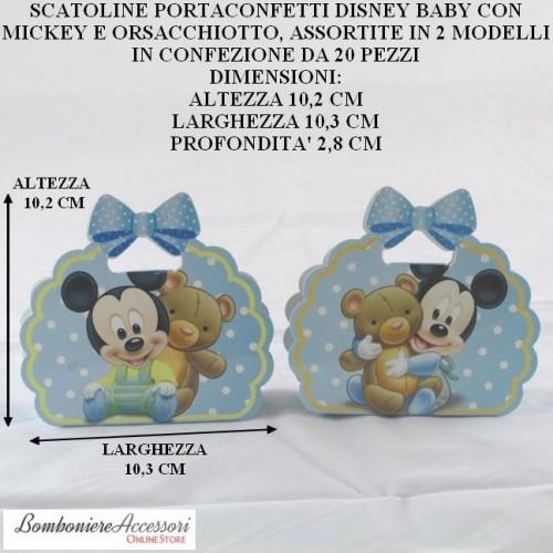 SCATOLINE PORTACONFETTI DISNEY BABY CON TOPOLINO E ORSACCHIOTTO - PEZZI 20