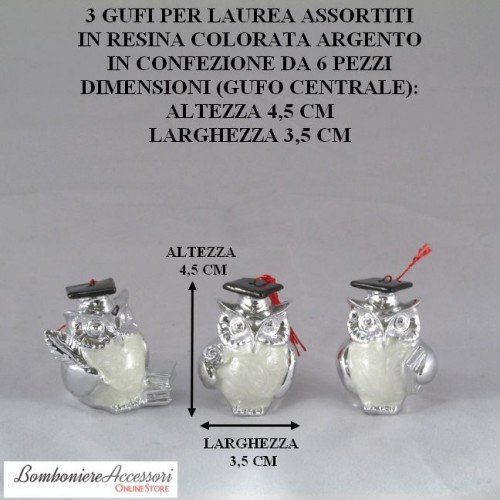 GUFI IN RESINA COLORATA ARGENTO PER LAUREA - PEZZI 6