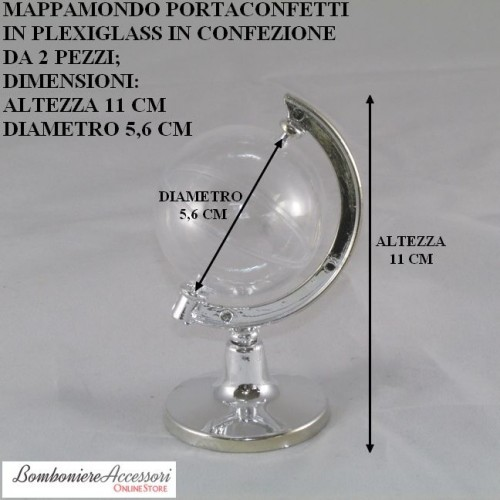 MAPPAMONDO PORTACONFETTI IN PLEXIGLASS - 2 PEZZI