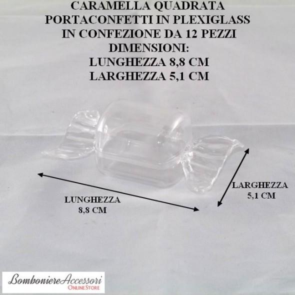 CARAMELLA PORTACONFETTI QUADRATA IN PLEXIGLASS - PEZZI 12