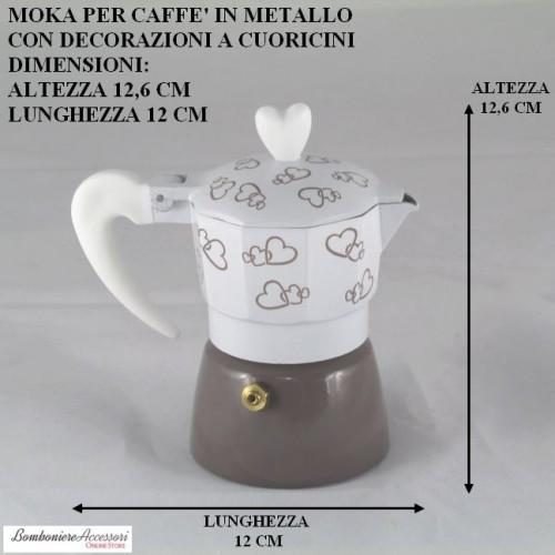 CAFFETTIERA IN METALLO CON CUORICINI