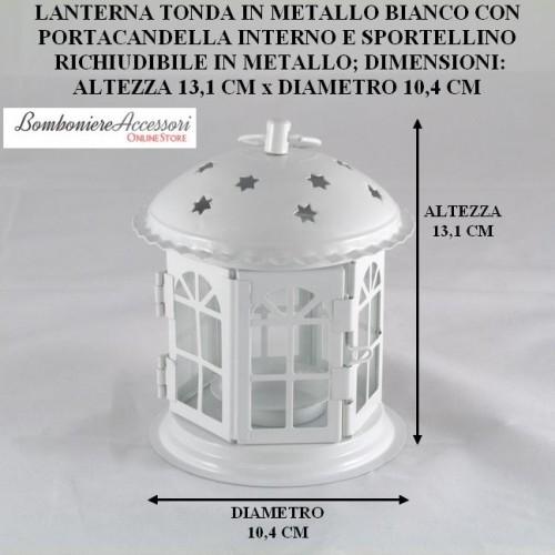 LANTERNA TONDA IN METALLO CON PORTACANDELA
