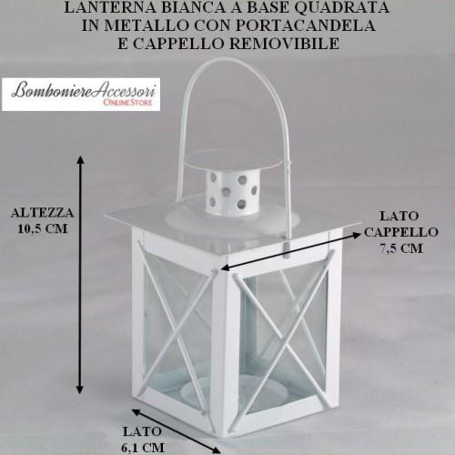LANTERNA IN METALLO BIANCO CON CAPPELLO REMOVIBILE