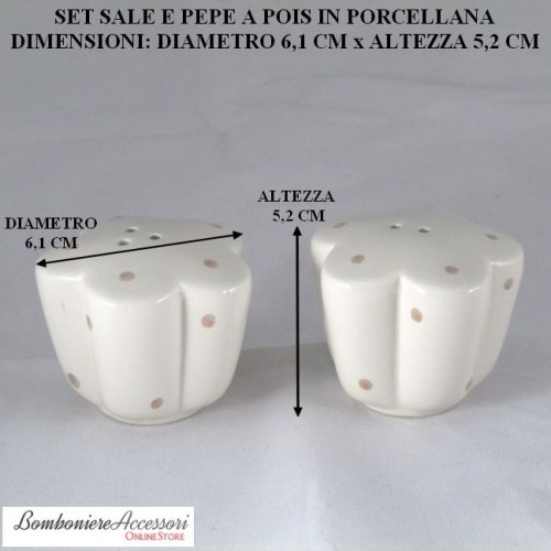 SET CON SALE&PEPE IN PORCELLANA A POIS STILE SHABBY CHIC