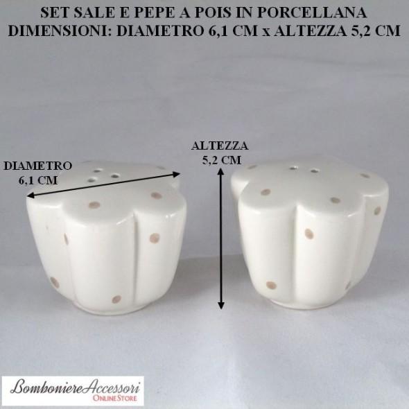 SET CON SALE&PEPE IN PORCELLANA A POIS STILE SHABBY CHIC
