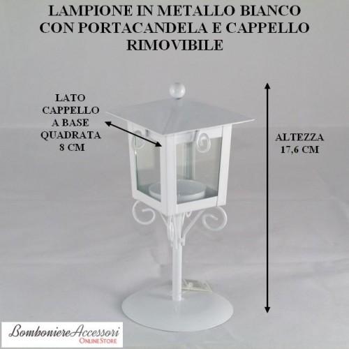 LAMPIONE IN METALLO BIANCO CON PORTACANDELA APRIBILE