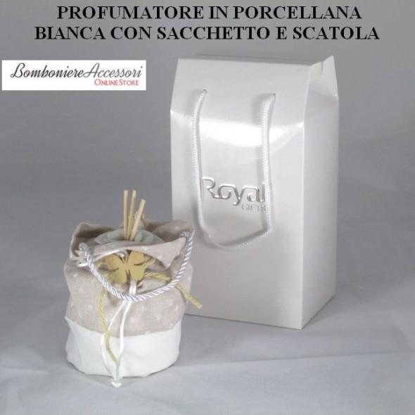 PROFUMATORE IN PORCELLANA BIANCA SHABBY CHIC CON SACCHETTO