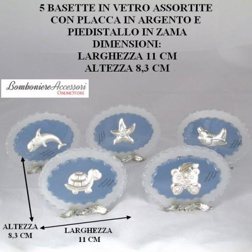 5 BASETTE IN VETRO ASSORTITE CON PLACCA IN ARGENTO
