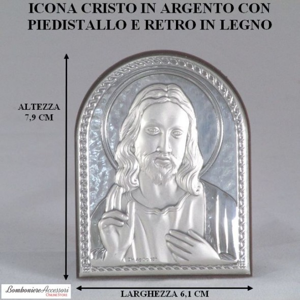 ICONA IN ARGENTO CON CRISTO E RETRO IN LEGNO