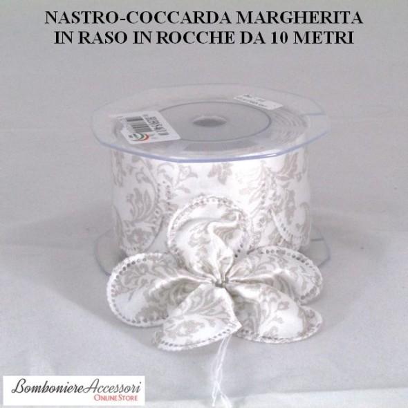 COCCARDA PORTACONFETTI MARGHERITA IN RASO STILE SHABBY CHIC - METRI 10